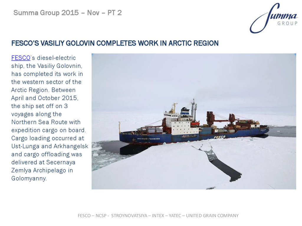 FESCO'S VASILIY GOLOVIN COMPLETES WORK IN ARCTI...