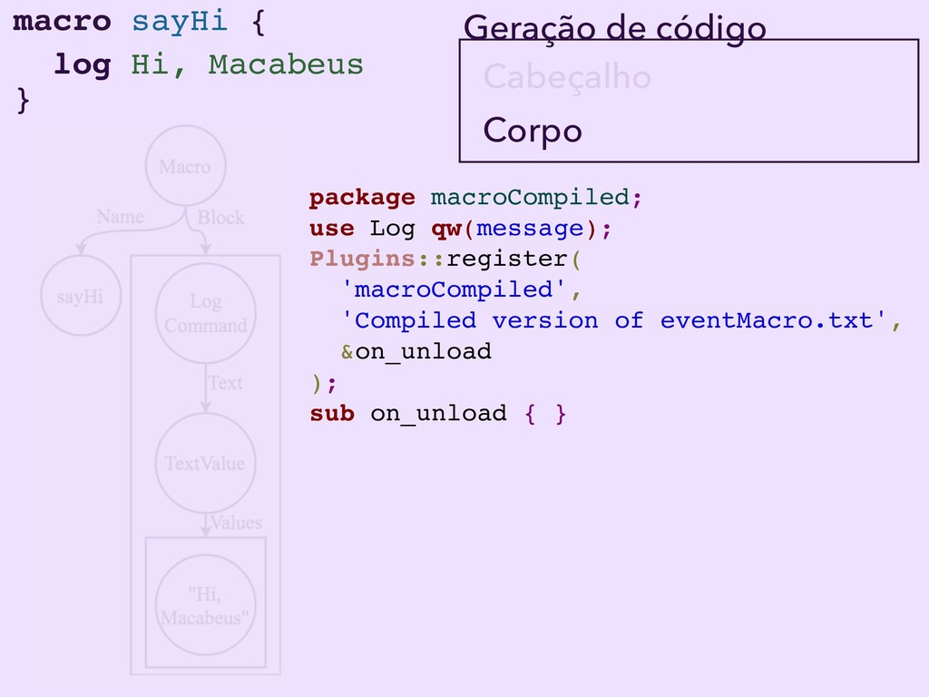macro sayHi { } log Hi, Macabeus Corpo Cabeçalh...