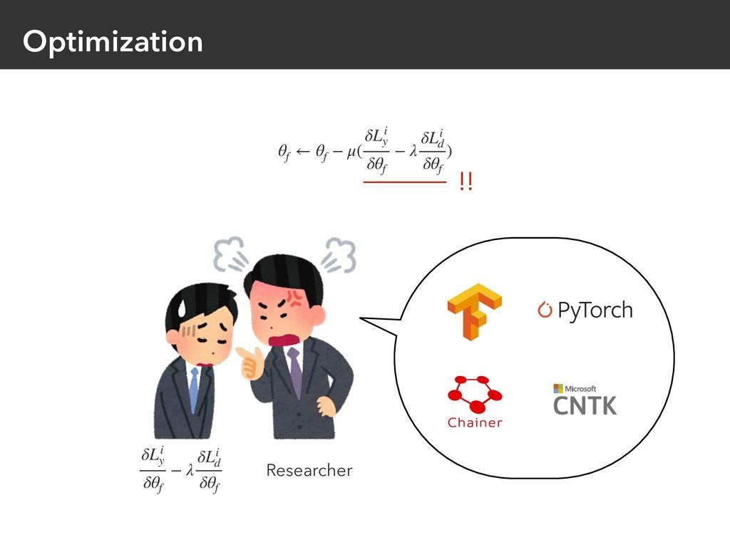 Optimization θf ← θf − μ( δLi y δθf − λ δLi d δ...