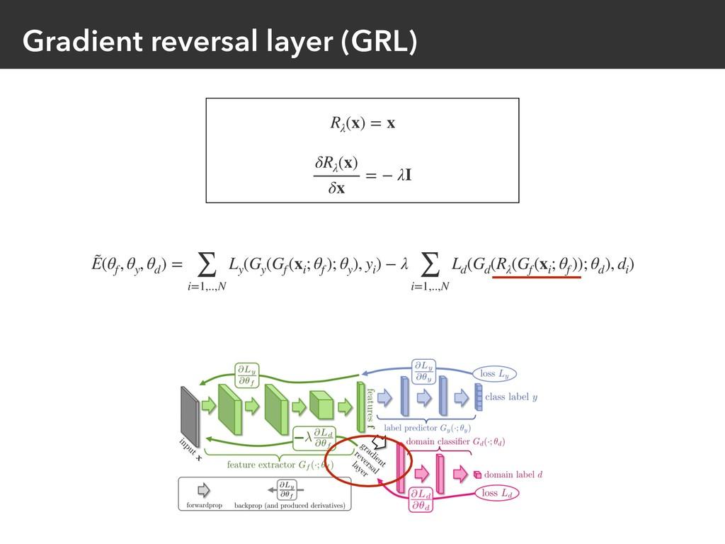 Gradient reversal layer (GRL) Rλ (x) = x δRλ (x...