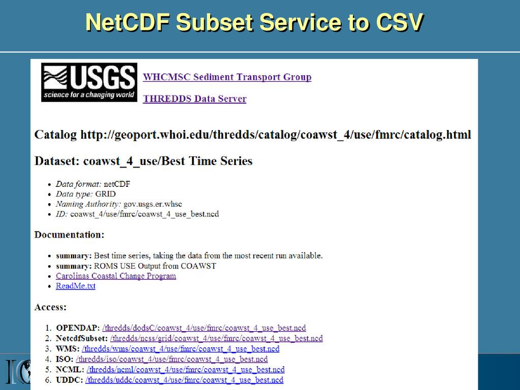 NetCDF Subset Service to CSV