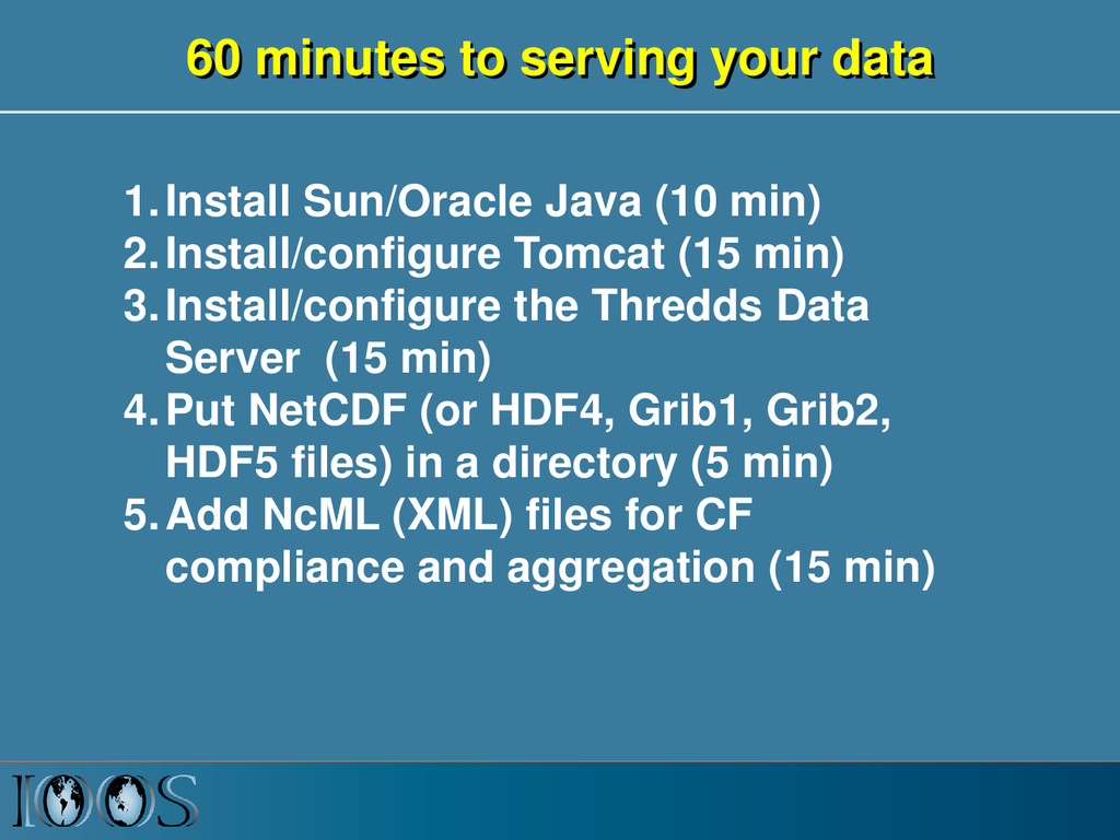 60 minutes to serving your data 1.Install Sun/O...