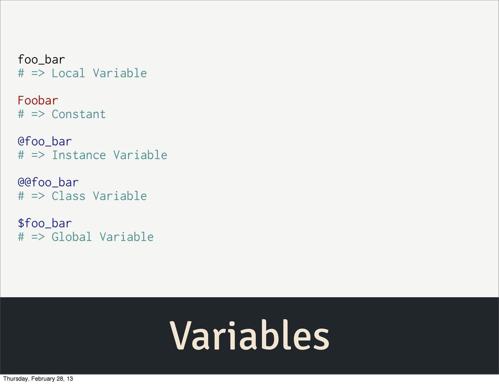 Variables foo_bar # => Local Variable Foobar # ...