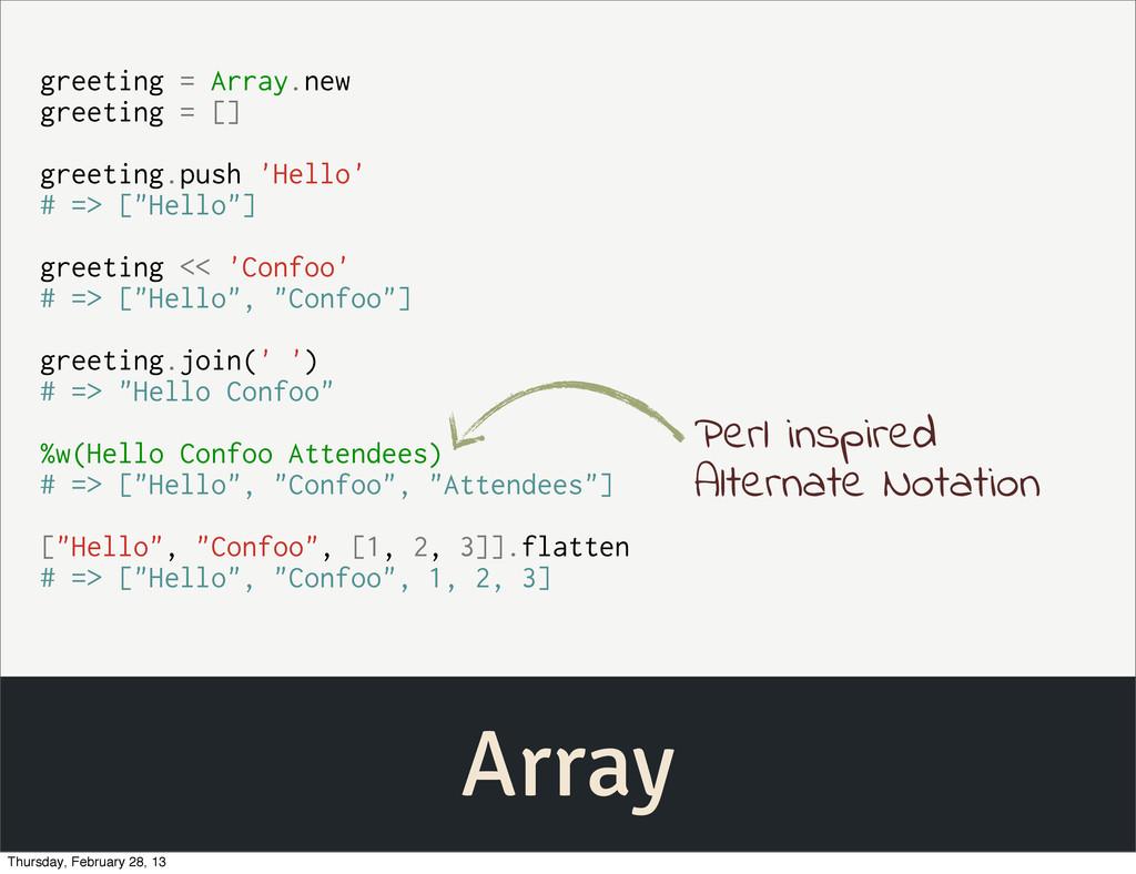 Array greeting = Array.new greeting = [] greeti...