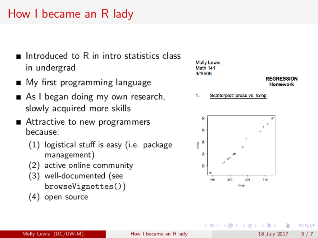 How I became an R lady Introduced to R in intro...