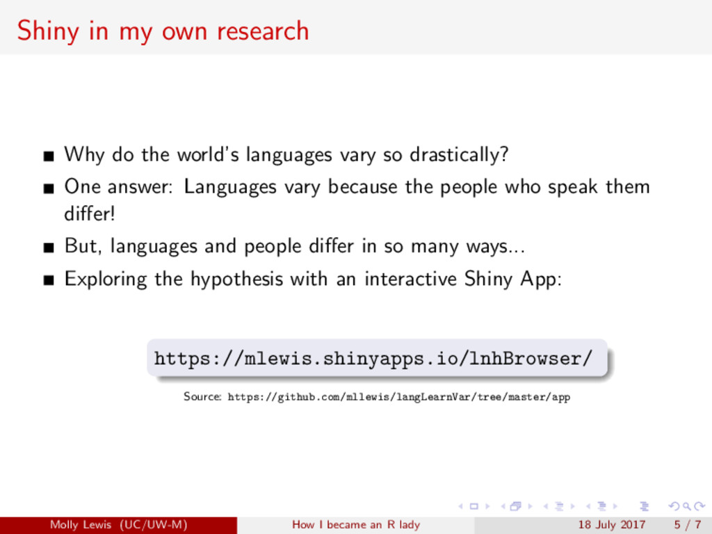 Shiny in my own research Why do the world's lan...
