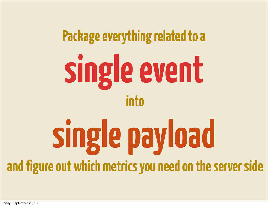 Package everything related to a single event in...