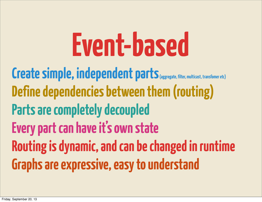 Event-based Create simple, independent parts (a...