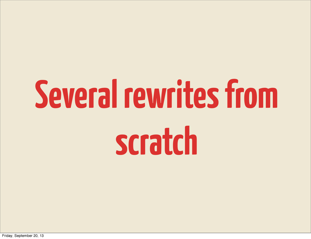 Several rewrites from scratch Friday, September...