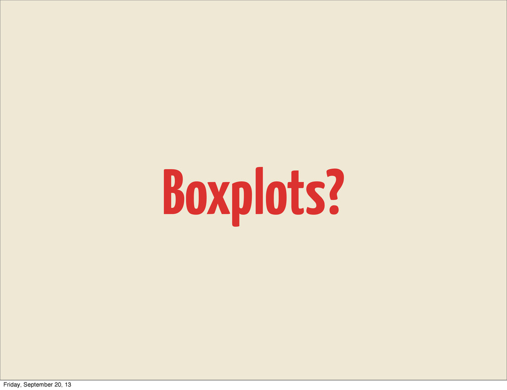 Boxplots? Friday, September 20, 13
