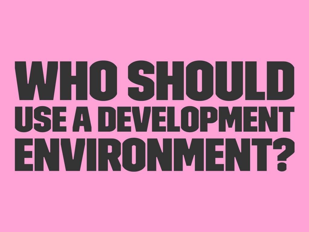Who should use a development environment?