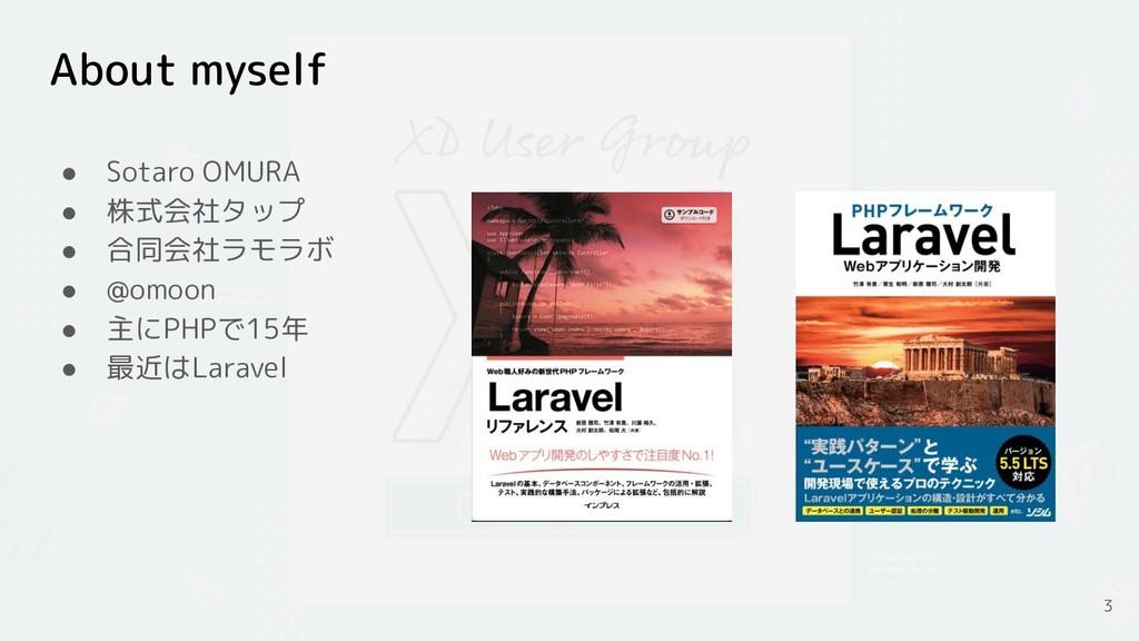 About myself ● Sotaro OMURA ● 株式会社タップ ● 合同会社ラモラ...