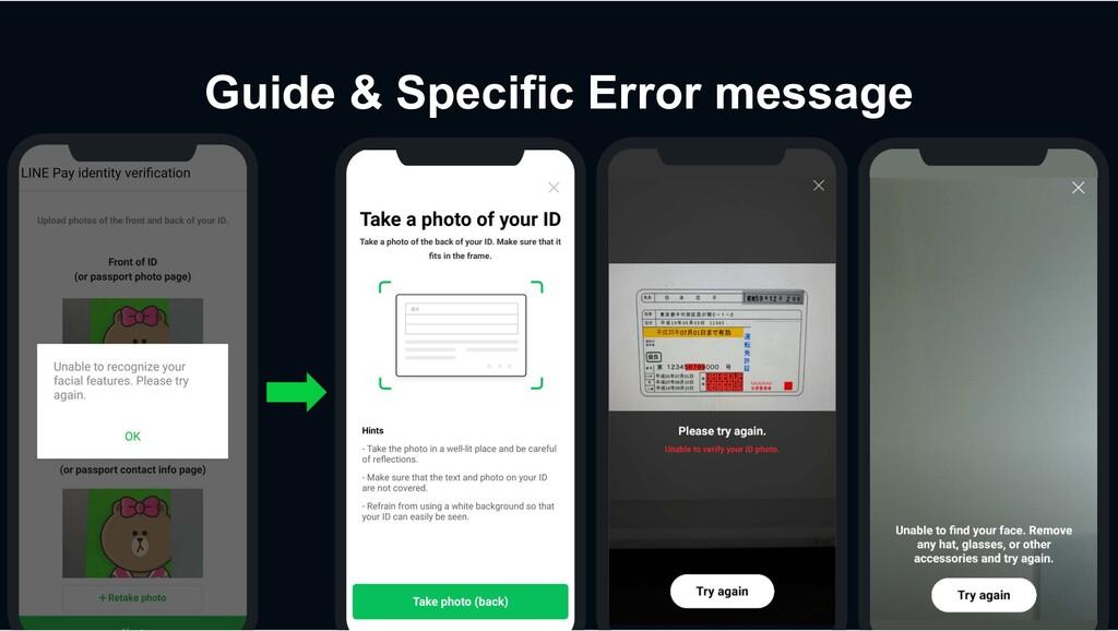Guide & Specific Error message