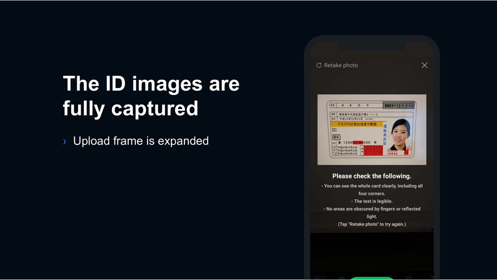 The ID images are fully captured › Upload frame...