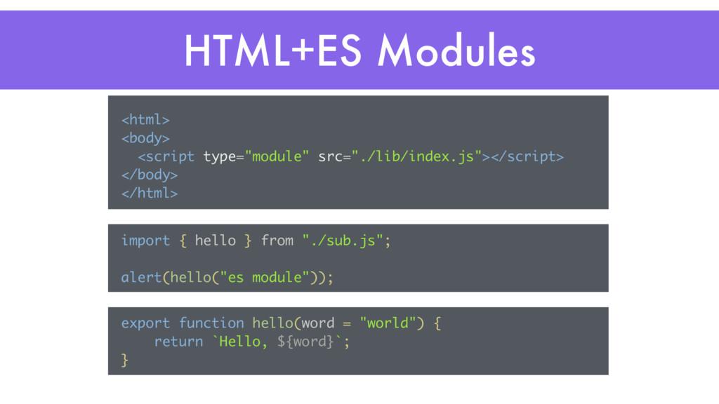 "HTML+ES Modules <html> <body> <script type=""mod..."