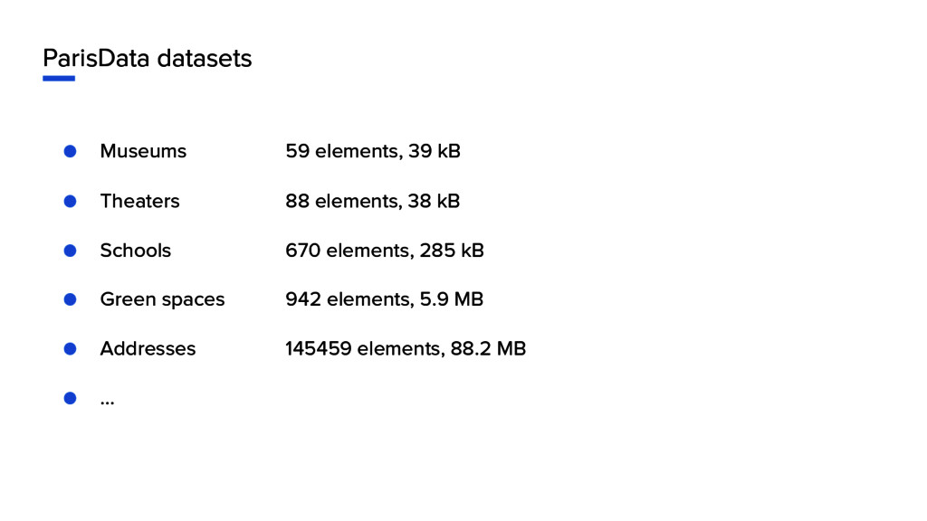 ParisData datasets ● Museums 59 elements, 39 kB...