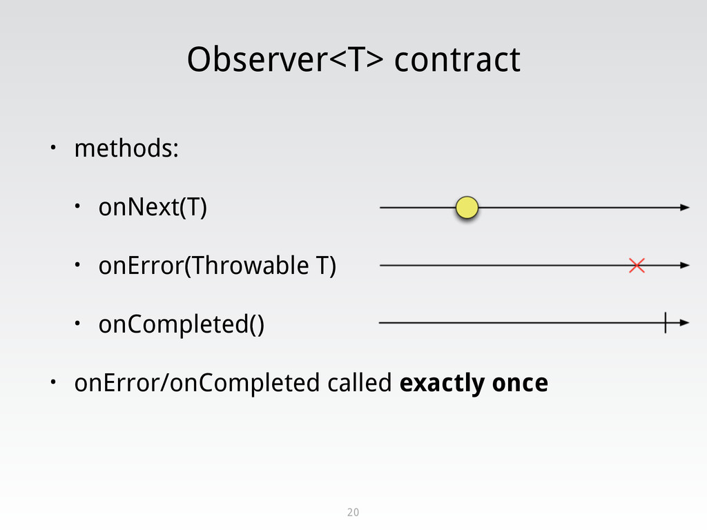 Observer<T> contract • methods: • onNext(T) • o...