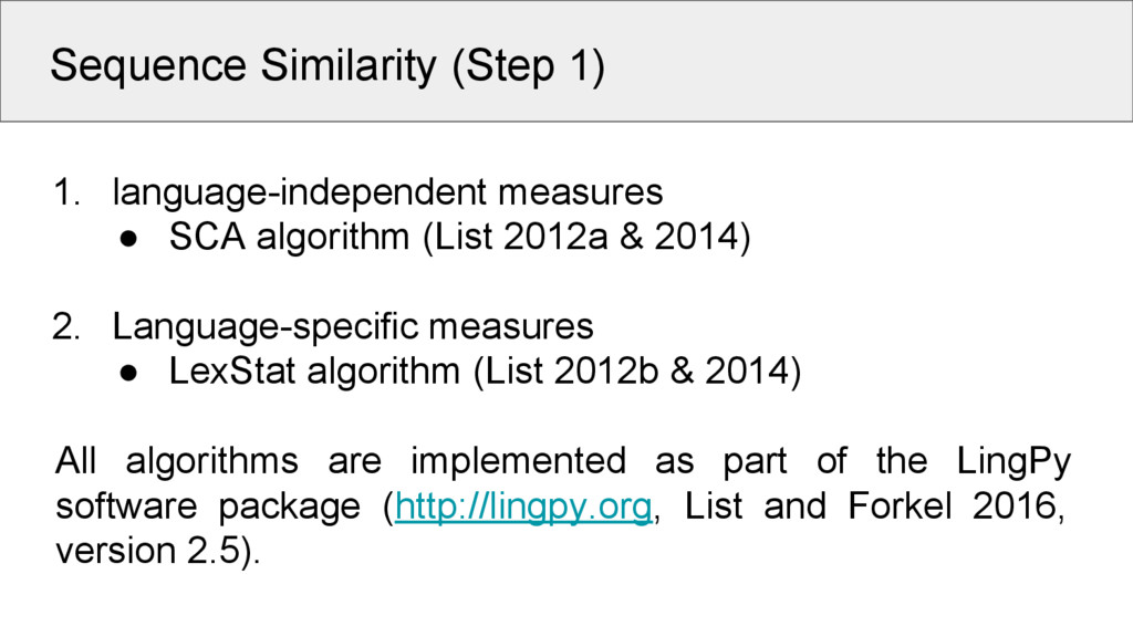 Sequence Similarity (Step 1) 1. language-indepe...