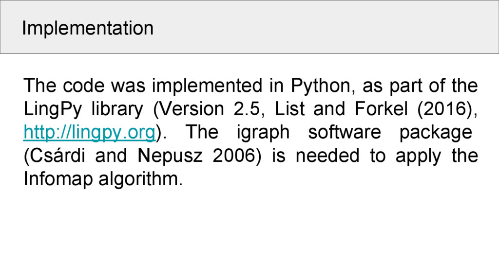 Implementation The code was implemented in Pyth...