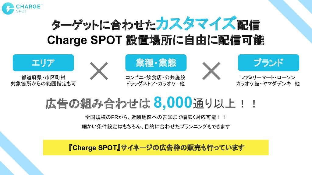 ターゲットに合わせたカスタマイズ配信 Charge SPOT 設置場所に自由に配信可能 広告の...