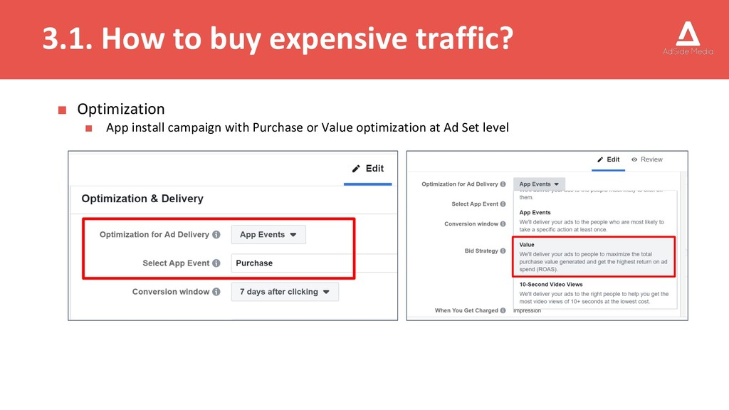3.1. How to buy expensive traffic? ■ Optimizati...