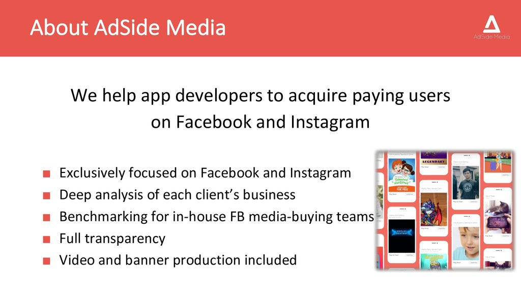 About AdSide Media We help app developers to ac...