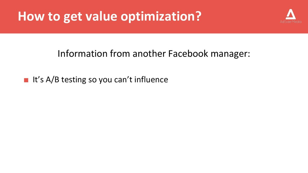 How to get value optimization? Information from...