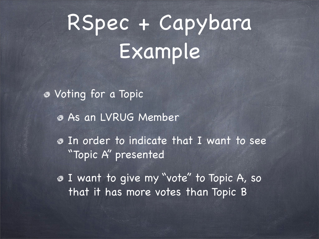RSpec + Capybara Example Voting for a Topic As ...