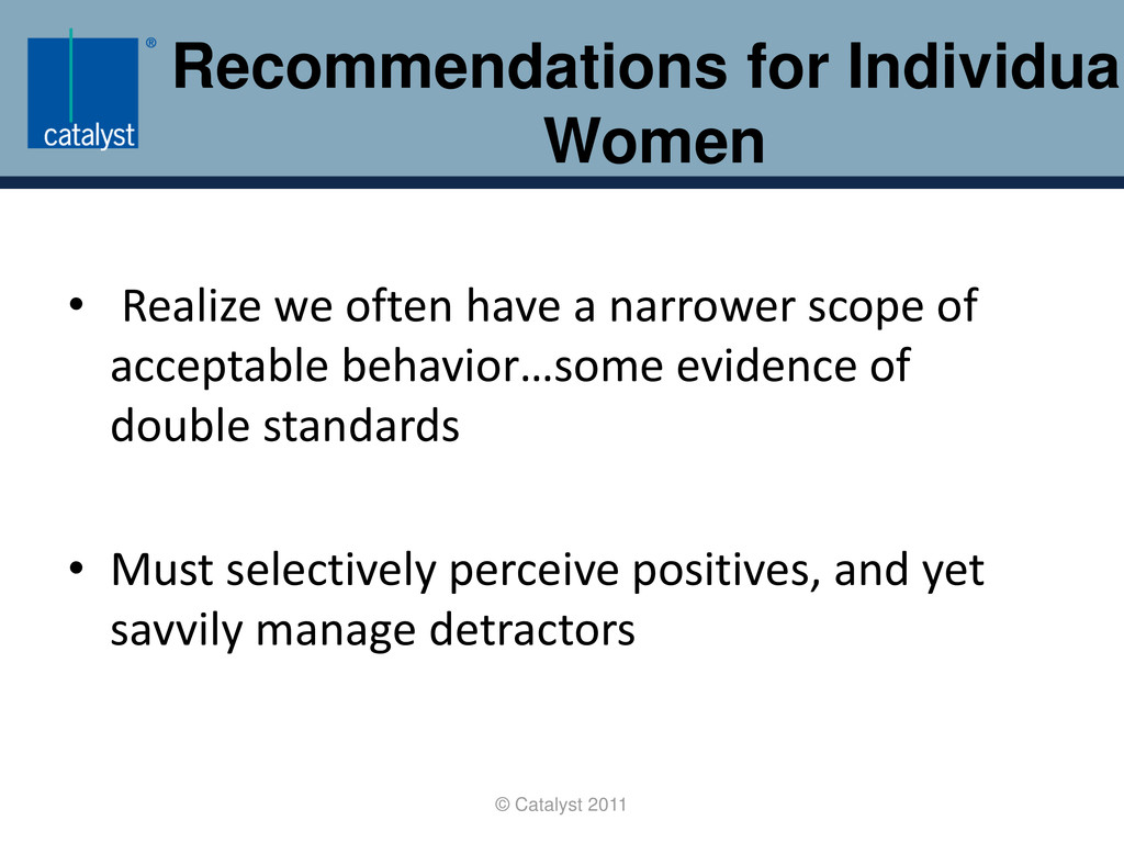 Recommendations for Individual Women © Catalyst...