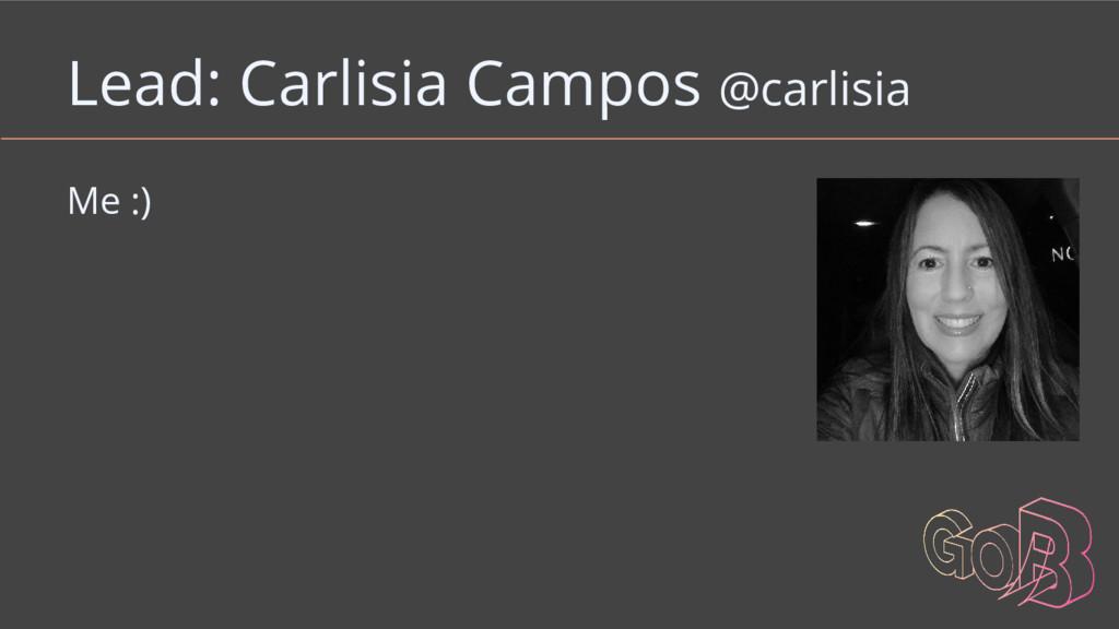 Lead: Carlisia Campos @carlisia Me :)