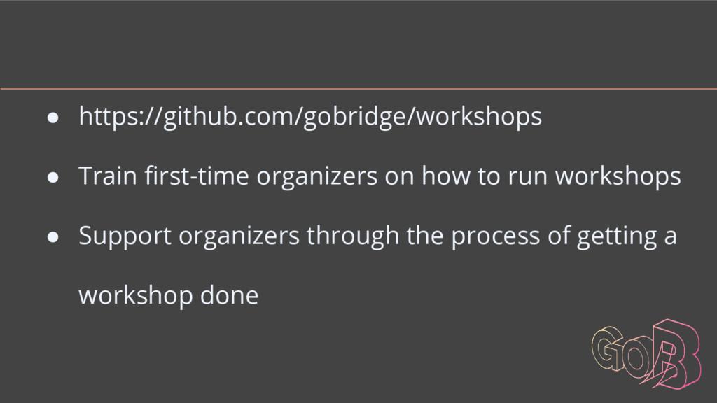 ● https://github.com/gobridge/workshops ● Train...