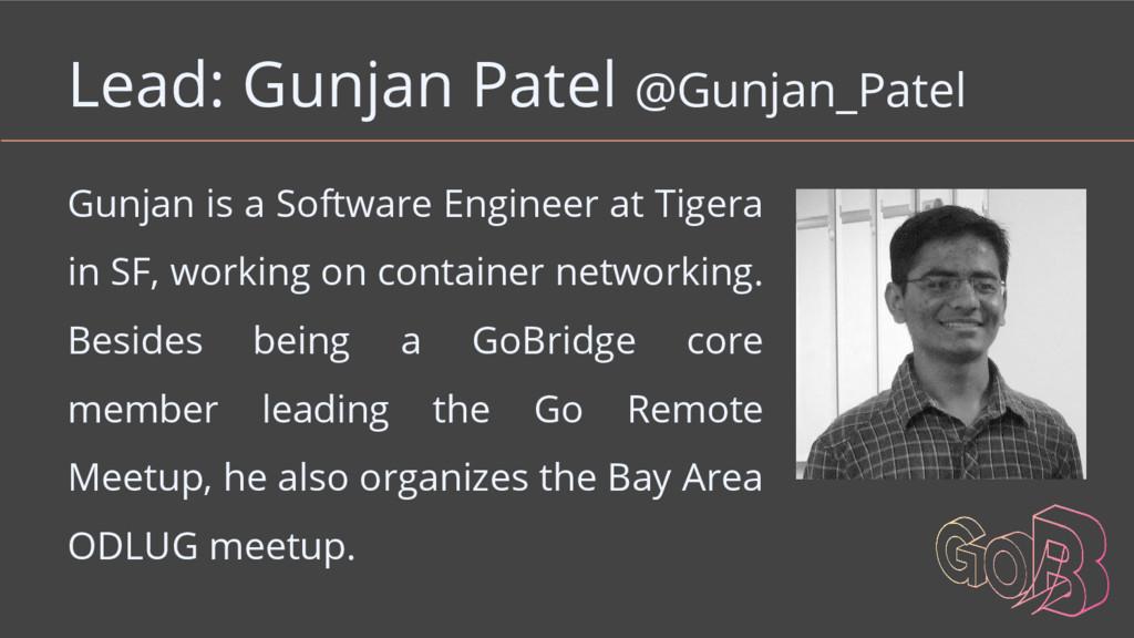 Lead: Gunjan Patel @Gunjan_Patel Gunjan is a So...