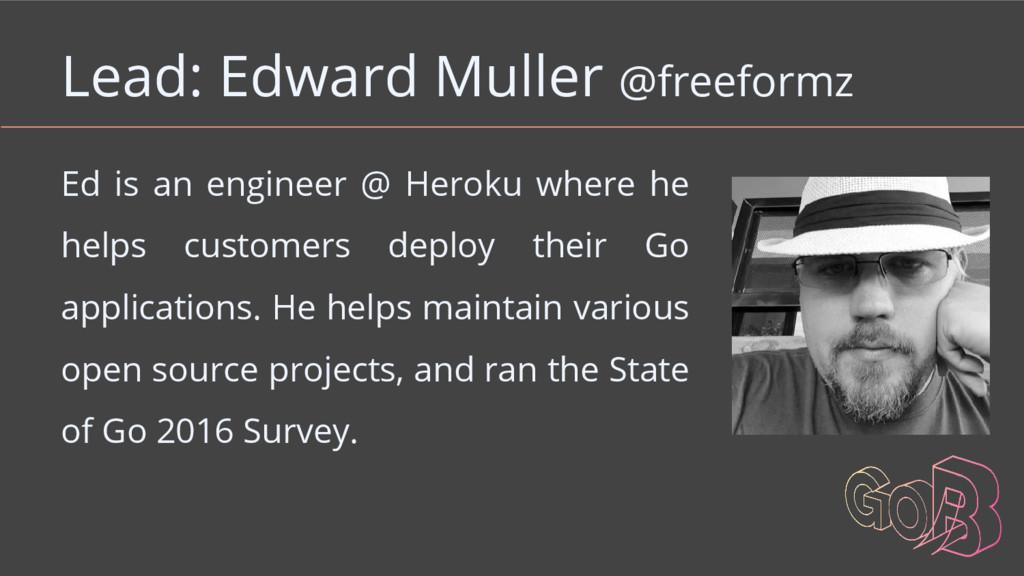 Lead: Edward Muller @freeformz Ed is an enginee...