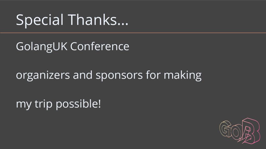 Special Thanks... GolangUK Conference organizer...
