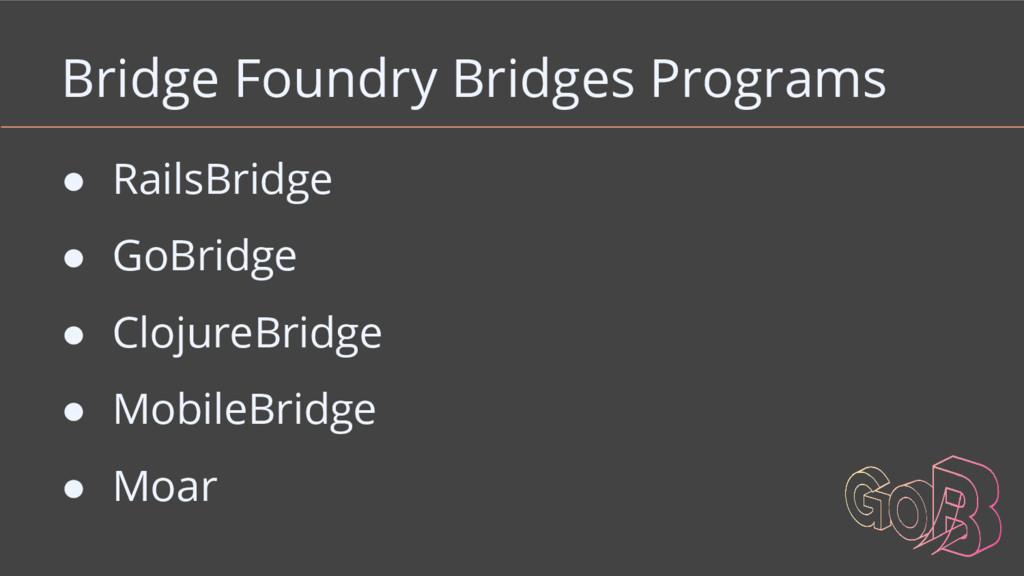 Bridge Foundry Bridges Programs ● RailsBridge ●...