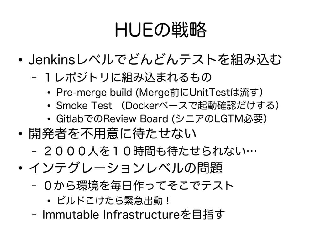 HUEの戦略 ● Jenkinsレベルでどんどんテストを組み込む – 1レポジトリに組み込まれ...