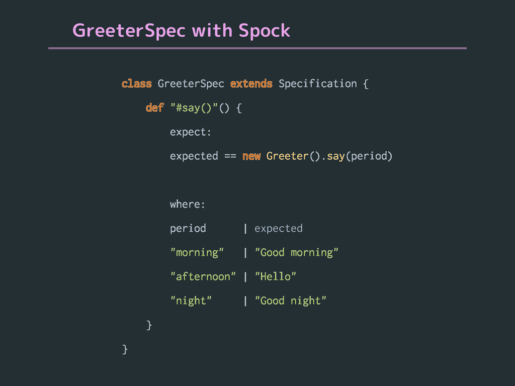 GreeterSpec with Spock class GreeterSpec extend...