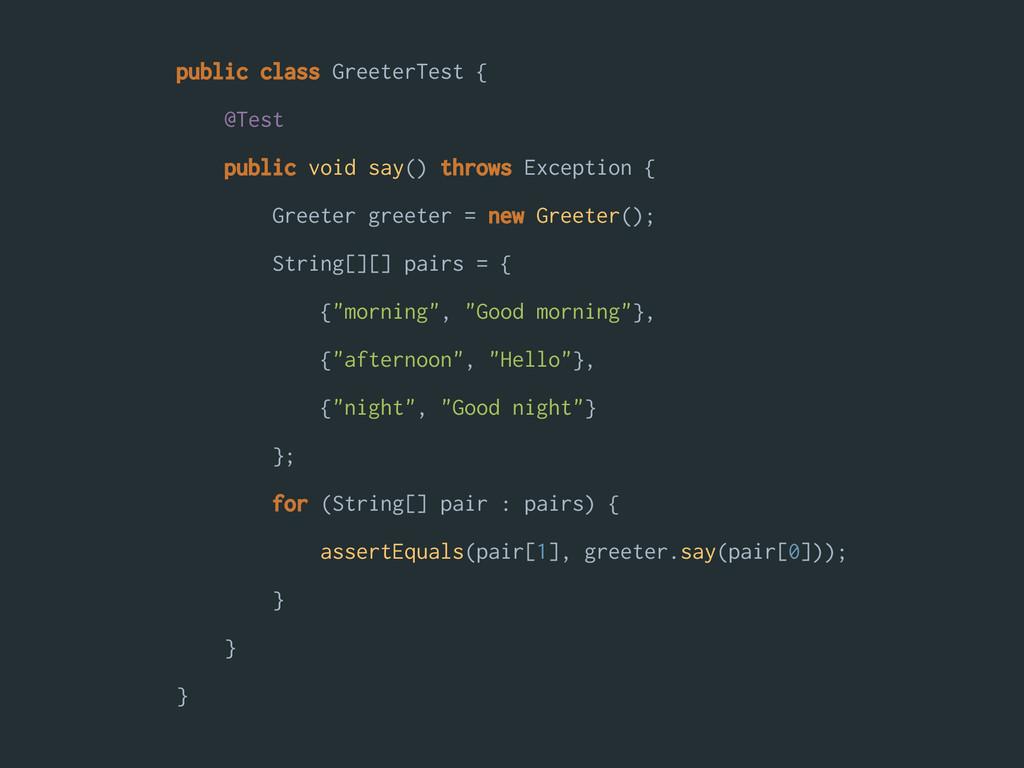 public class GreeterTest { @Test public void sa...