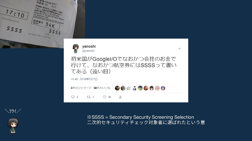 ※SSSS = Secondary Security Screening Selection