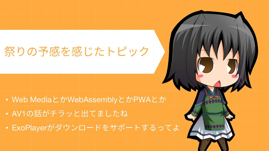 • Web Media WebAssembly PWA • AV1 • ExoPlayer