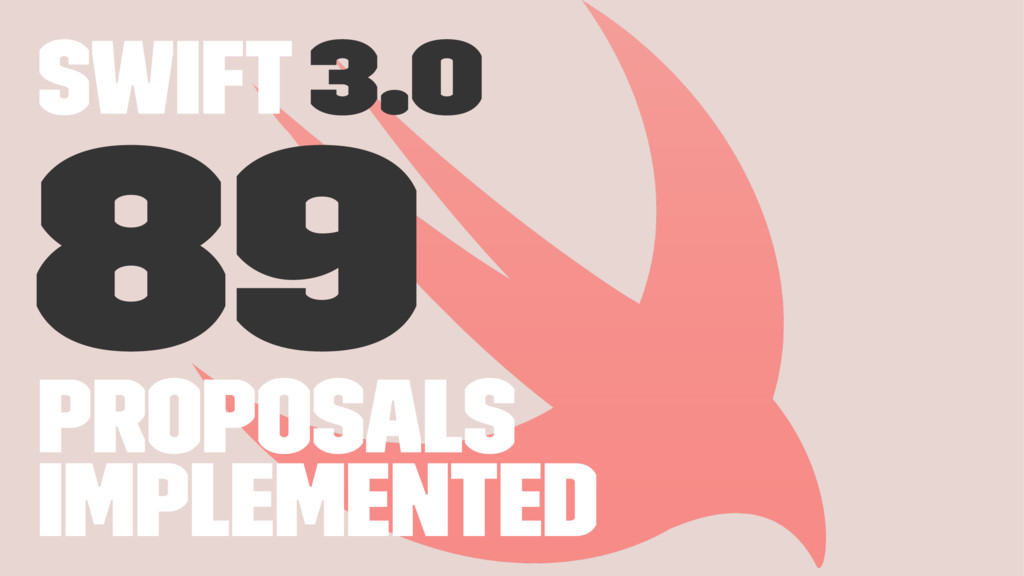 Swift 3.0 89 Proposals implemented