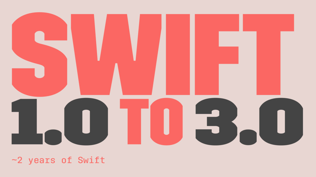 Swift 1.0 to 3.0 ~2 years of Swift