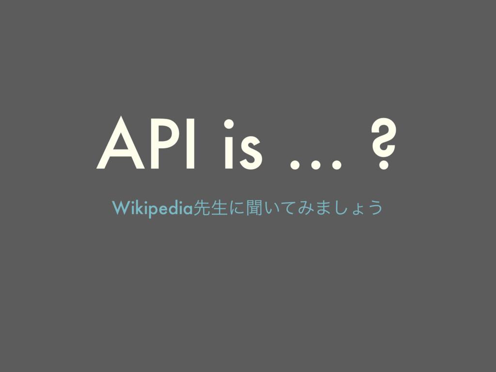 API is … ? Wikipediaઌੜʹฉ͍ͯΈ·͠ΐ͏