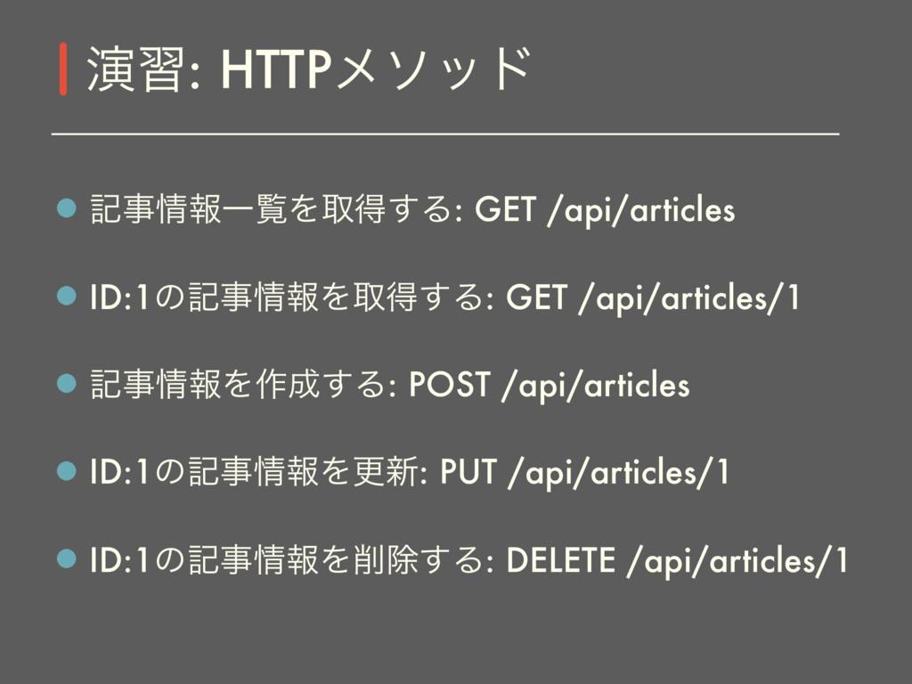 هใҰཡΛऔಘ͢Δ: GET /api/articles ID:1ͷهใΛऔಘ͢Δ: ...