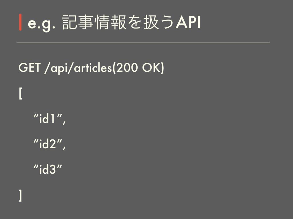 """GET /api/articles(200 OK) [ """"id1"""", """"id2"""", """"id3""""..."""