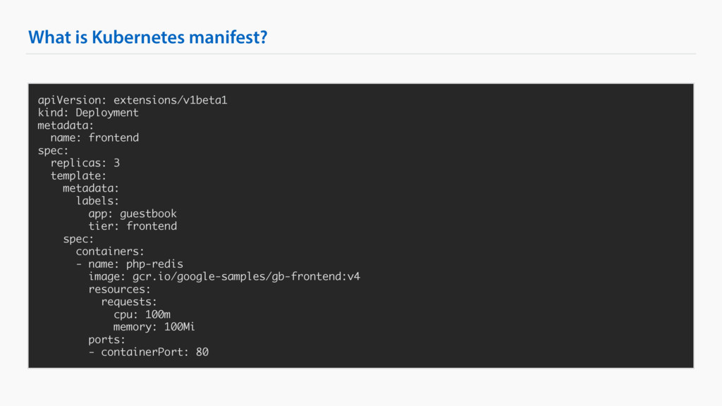 What is Kubernetes manifest? apiVersion: extens...