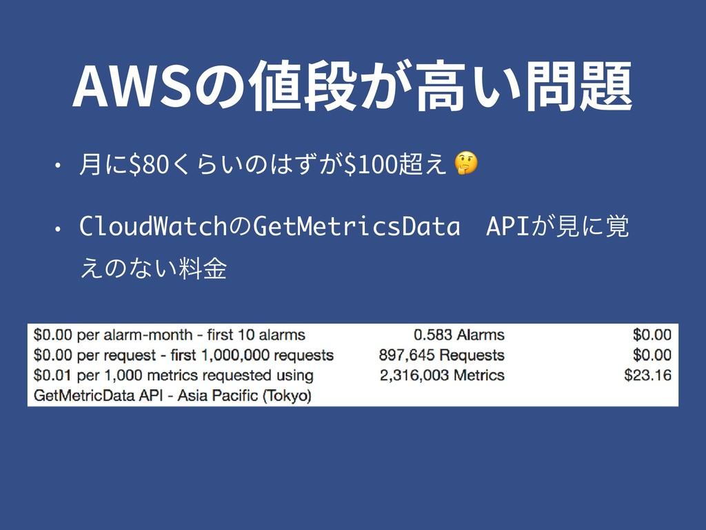 AWSの値段が⾼い問題 • ⽉に$80くらいのはずが$100超え  • CloudWatchͷ...