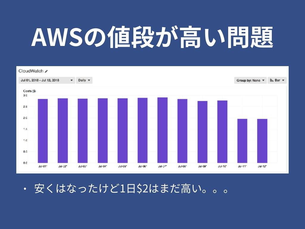 AWSの値段が⾼い問題 • 安くはなったけど1⽇$2はまだ⾼い。。。