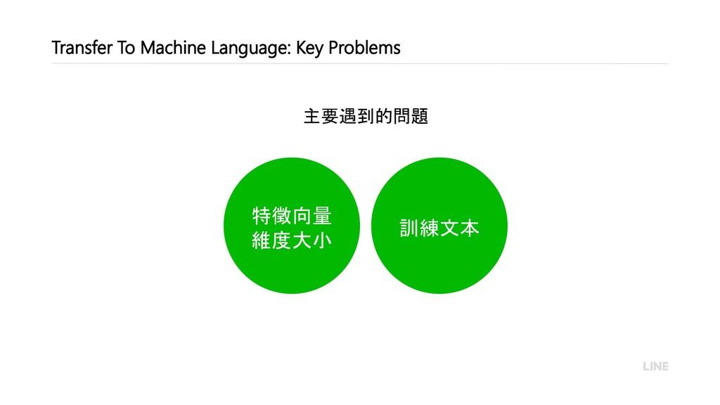 訓練文本 特徵向量 維度大小 主要遇到的問題 Transfer To Machine Lang...