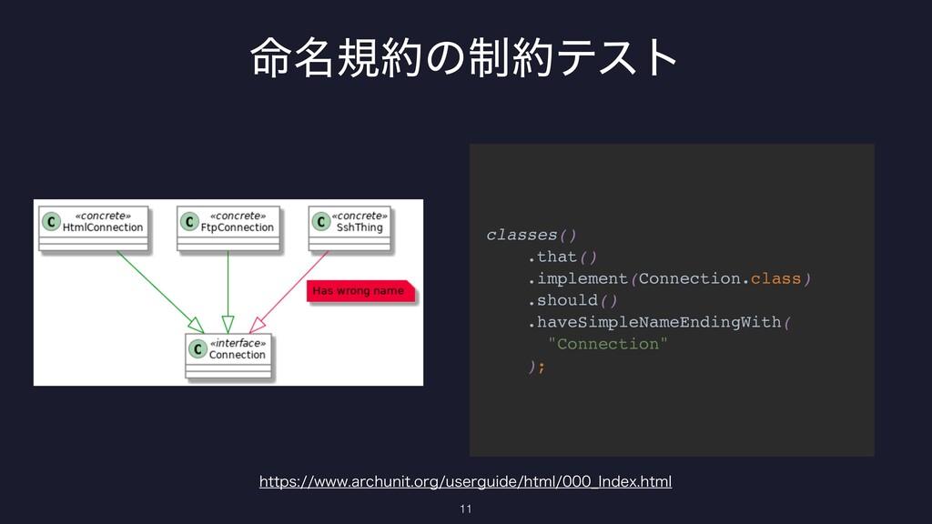 11 classes() .that() .implement(Connection.cl...